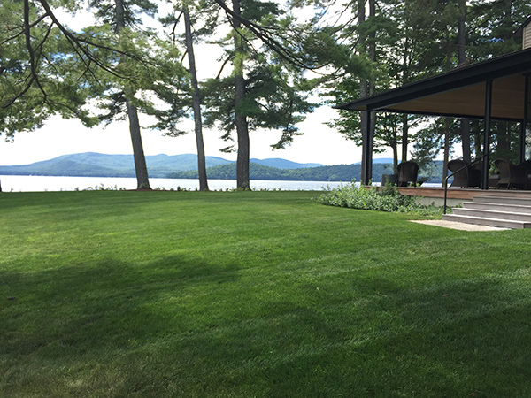 Organic lawn care on the lake side in Sunapee NH
