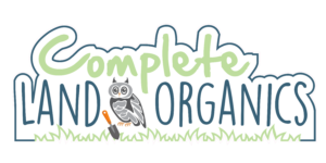 NH organic lawn care company logo with an owl, trowel and text.